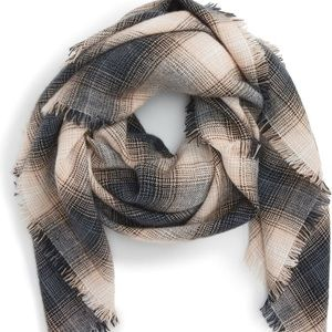BP square plaid scarf blue tan white